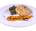 Goat cheese breaded in sesame seeds