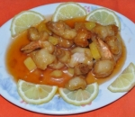164. King prawns in sweet and sour sauce