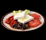 Pink tomato, crispy cucumber, roasted pepper, red onion, Tajik olives and cheese