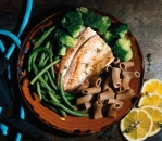 River trout with green vegetables and fresh pasta