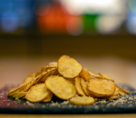 Homemade potato chips with parmesan