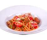 Spaghetti with beef meatballs