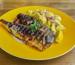 Grilled mackerel fillet with garnish