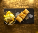 Thai fruit salad and friut spring rolls
