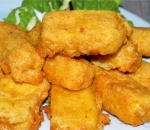 Breaded yellow cheese nuggets