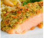 Salmon fillet with crispy crust with herbs and stewed vegetables