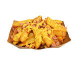 Potatoes with bacon and cheddar sauce