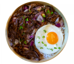 Donburi with pulled beef with sauce of choice