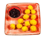 Cheese in crispy breading with whole pomegranate jam