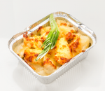 Baked potatoes with cheese, cream, cheese and parmesan