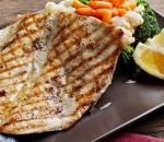 Grilled trout with stewed vegetables