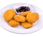 Breaded in cornflakes * melted cheese with blueberry jam