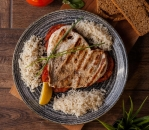 Chicken fillet with rice and tomatoes