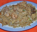 71. Fried noodles with three types of meat