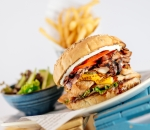 Burgers with chicken and bacon