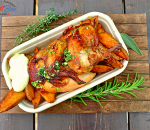 ½ Roast chicken with homemade Wedges potatoes