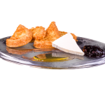 Fried slices with jam, honey and cheese