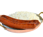 Vegan sausages with steamed rice