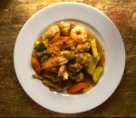Stir fried prawns with vegetables