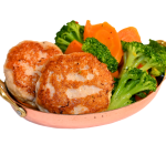 Chicken meatballs with stewed vegetables and truffle sauce