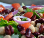 Iceberg lettuce with chickpeas and red beans