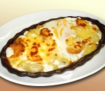 Baked potatoes with melted cheese