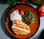 Turkey fillet Su Vid with snack Tabbouleh and rice