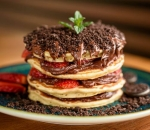American Pancakes with Nutella, Strawberries and Oreo