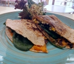 Quesadilla with sweet potatoes, beans and corn