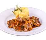 Pork fillets with wild mushrooms and mashed potatoes