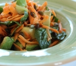 Carrots with avocado and spinach