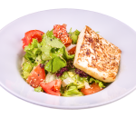 Mix salad with roasted cheese