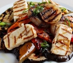Grilled vegetables with roasted halloumi and honey vinaigrette