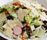 Mix of fresh salads with crispy vegetables and parmesan
