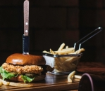 Promo Crispy chicken burger and French fries menu