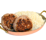 Pork meatballs with steamed rice and truffle sauce