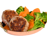 Pork meatballs with steamed vegetables and truffle sauce