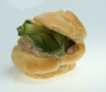 Profiterol with mousse of pate and fresh cucumber