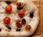 Focaccia with olives and cherry tomatoes