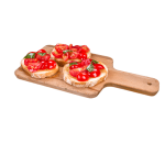Bruschette with cherry tomatoes, basil and Italian olive oil EVO