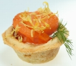 Tartlets with smoked salmon and cream mousse