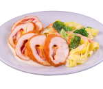 Chicken roll with cheddar, broccoli and fettuccine
