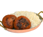 Vegan meatballs with steamed rice