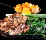 Lamb with stewed spinach