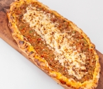 Pide with meat and yellow cheese