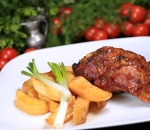 Pork shank with potato oven