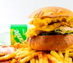 Double chicken burger 350g + potatoes with cheddar 180g