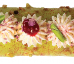 Eclair with pistachio cream rose water and raspberry confit