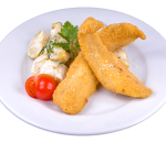 Breaded fillet of * white fish with glazed in * cream sweet * potatoes