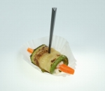 Cocktail roll of grilled zucchini, carrot and milk mousse